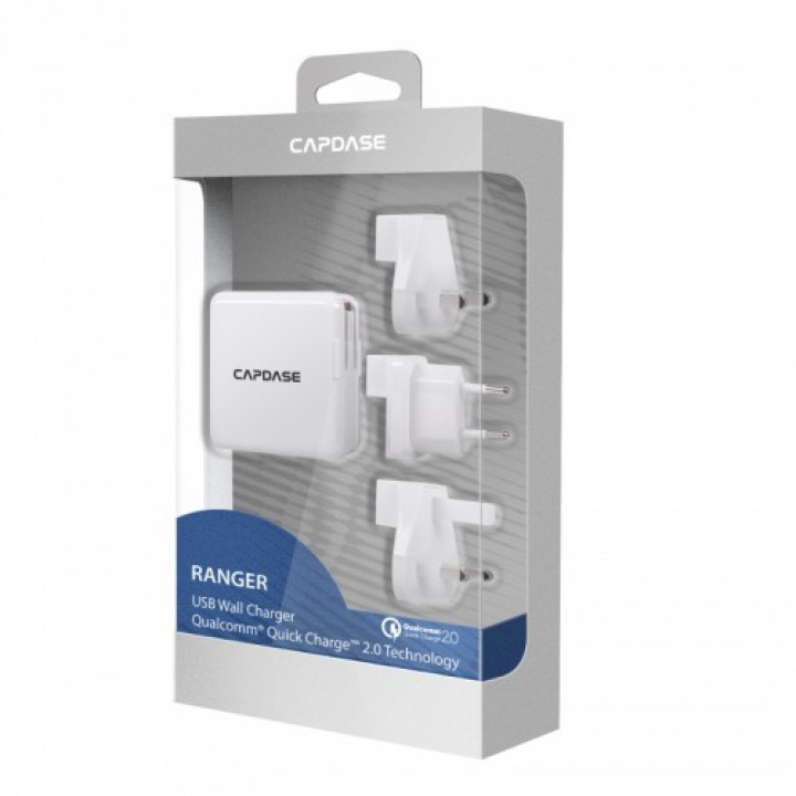 CAPDASE Ranger Quick Charge 2.0 USB Wall Charger (Worldwide Plugs) (Warranty Period 1 year)