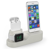 AhaStyle-3 in 1 Premium Silicone Charging Stand for AirPods & Apple Watch & iPhone [Compatible with Apple Original Lightning Cable ONLY] [Cables,Watch Adaptor and Devices NOT included] (Beige)