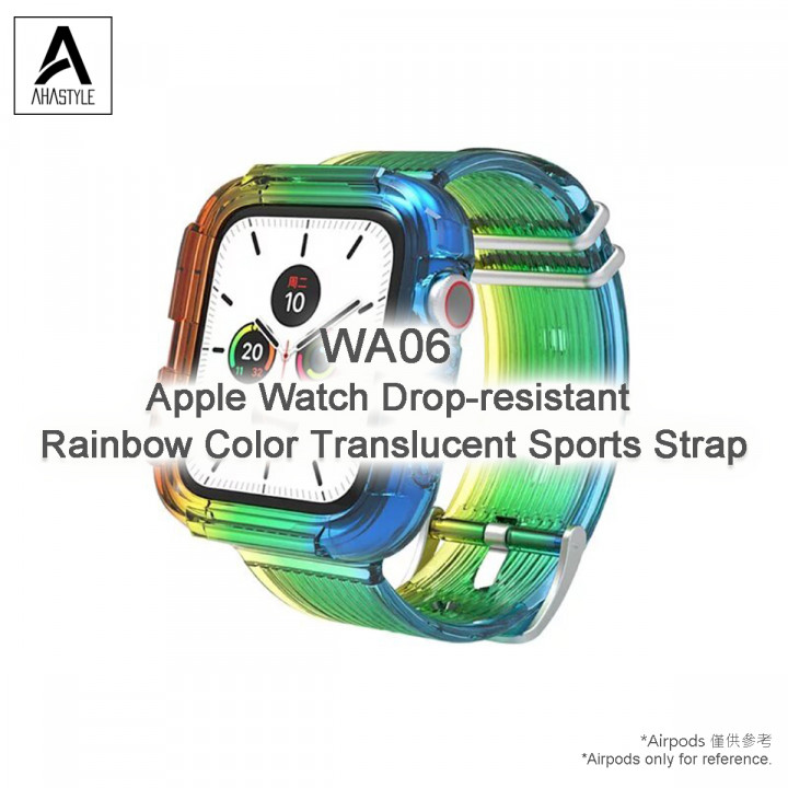 Ahastyle - WA06  Apple Watch Drop-resistant  Rainbow Color Translucent Sports Strap