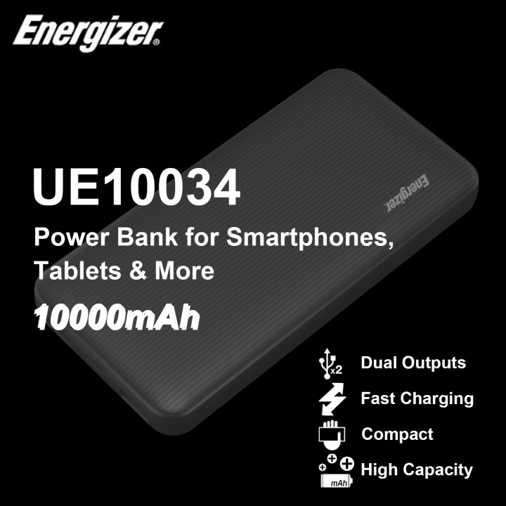 Energizer UE10034 - 10000mAh Power Bank for Smartphones, Tablets & More