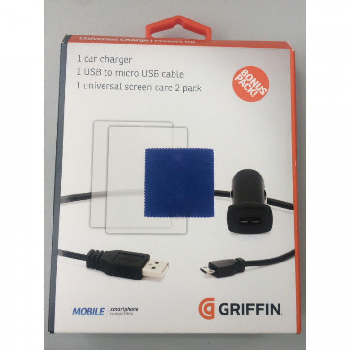 Griffin BONUS PACK Universal Charge / Protect Kit Mobile Smartphone Compatible