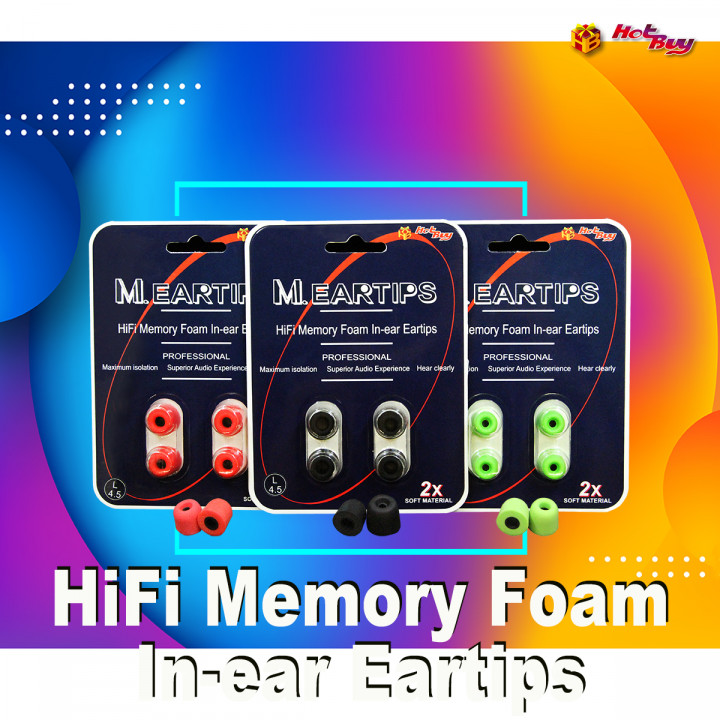 M.EARTIPS - HiFi Memory Foam In-ear Eartips (One set two packs, Each pack two pairs)