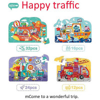 MiDeer - 4-in-1 Theme Children's Puzzle Gift Pack (Traffic MD3025)