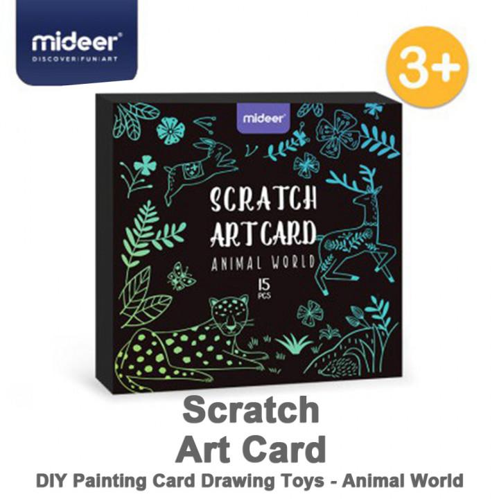 MiDeer  Scratch Art Card Diy Painting Card - Animal World