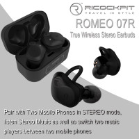 Ricockpit -  ROMEO 07R True Wireless Stereo Earbuds , Pair with Two Mobile Phones, Bluetooth 5.0 (Warranty Period 1 years)