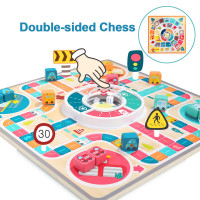 TOP Bright Board Games for Kids, 2 in 1 wooden traffic theme chess toy with flying chess and goose chess.