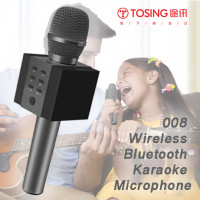 TOSING - 008 Wireless Bluetooth Karaoke Microphone,Louder Volume 10W Power, More Bass, 3-in-1 Portable Handheld Double Speaker Mic Machine (Hong Kong Warranty Period 90 days)