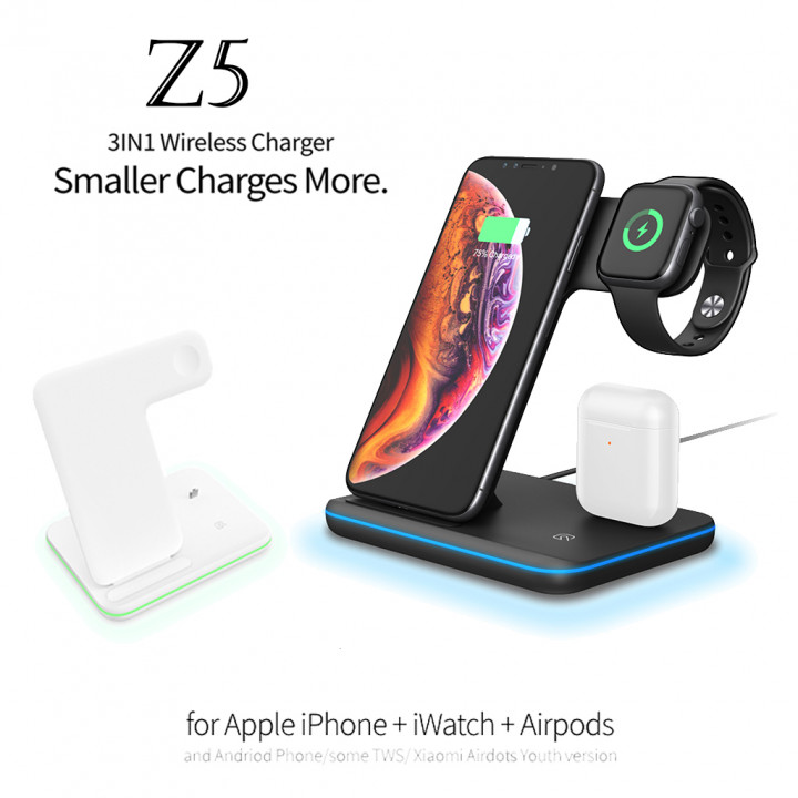 Z5 3IN1 Wireless Charger for Apple iPhone or Andriod Phone/some + iWatch + Airpods (Hong Kong Warranty Period 90 days)