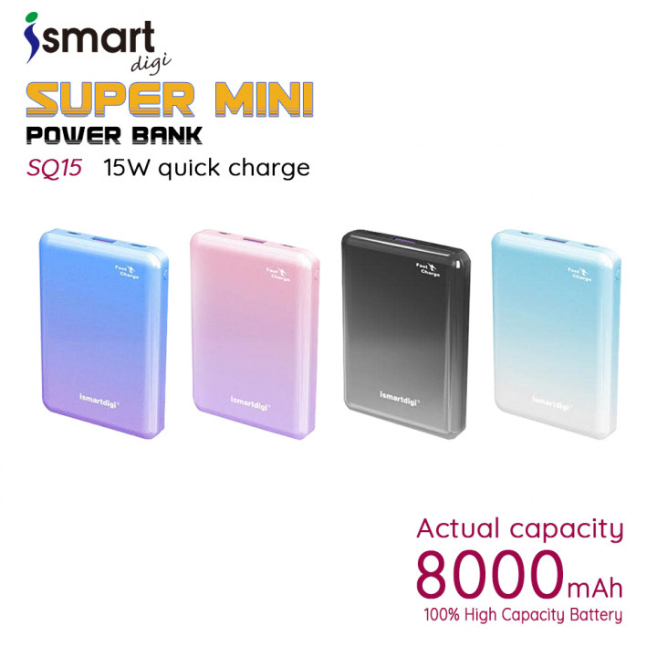 ismartdigi SQ15 Super Mini 8000mAh Unique two-color design 15W Output Power Bank (Warranty Period 1 years)